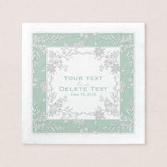 Floral Spray-Seafoam-White-Elegant Framed Napkins - wedding decor marriage design diy cyo party idea