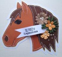 Hos fru hansen: Til heste pigen Fun Cards, Shaped Cards, Horse Barns, Quilling, Birthday Cards, Card Ideas, Menu, Shapes, Sewing