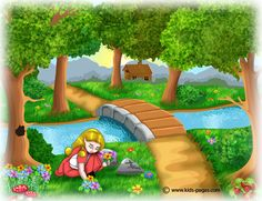 Kids Pages - Goldilocks and the Three Bears Goldilocks And The Three Bears, Little Girl Names, Little Cottages, 3 Bears, Kids Pages, English Activities, Story Starters, Plant Illustration, Questions