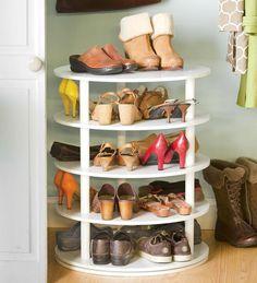 Rotating Five-Tier Shoe Rack - Closet Storage And Organization System Shoe Racks . Could be built into wall closet system. Shoe Storage Solutions, Diy Shoe Storage, Diy Shoe Rack, Closet Storage, Shoe Racks, Storage Ideas, Organizing Solutions, Rotating Shoe Rack, Shoe Rack With Shelf