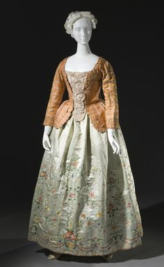 Caraco Jacket with Stomacher and Embroidered Petticoat, circa 1750/altered 1780
