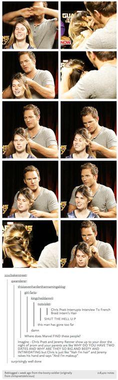 Chris Pratt French braids hair.