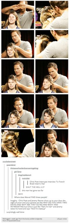 Chris Pratt French braids hair.