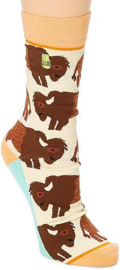 2fc09f2f00f Brown   Blue Bison Crew Socks Crazy Socks