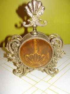 Cinderella Golden Carriage Amber Beveled Glass Perfume Bottle