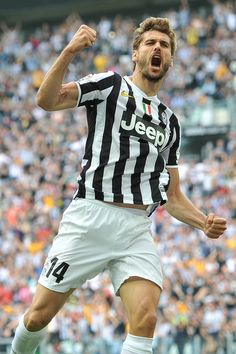 Fernando Lorente of Juventus celebrates scoring their second goal during the Serie A match between Juventus and Cagliari Calcio at Juventus ...