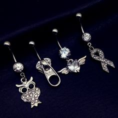 4pcs 2017 new arrivals clear crystal owl ribbon zipper cz heart wing dangling navel belly bar button rings body piercing jewelry