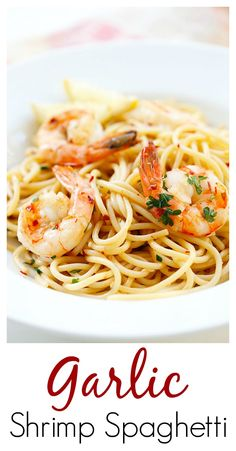 Spaghetti Aglio e Olio with Shrimp – super easy and delicious spaghetti with garlic, olive oil, shrimp and red pepper flakes. Amazing dinner for the family | rasamalaysia.com