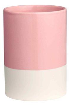 Verre à dents en porcelaine - Rose clair/blanc - HOME   H&M BE 1