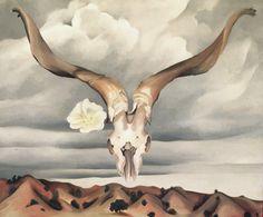"""Ram's Head, White Hollyhock-Hills,"" (""Ram's Head and White Hollyhock, New Mexico""), Georgia O'Keeffe, 1935, oil on canvas, 30 x 36"", Brooklyn Museum."