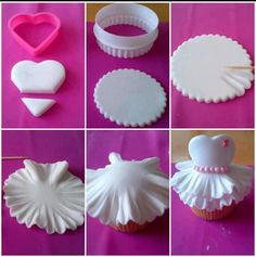 White dress cupcake. Would b something I might DIU for bridal shower