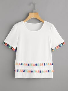 Shop Tiered Tassel Trim T-shirt online. SheIn offers Tiered Tassel Trim T-shirt & more to fit your fashionable needs.