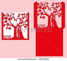Wedding invitation with bride and groom, and tree. Paper lace envelope template. Wedding invitation envelope mock up for laser cutting. Vector illustration.