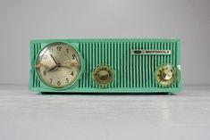 Etsy Picks - Telling Time - Clocks - Vintage Sea Green Motorola Alarm Clock Radio - AtomicAttic