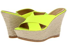 Nine West Dashall. Neon yellow & raffia wedges. Yessss...... @ Zappos.com