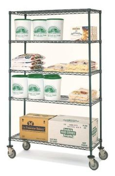 """Olympic 14"""" Deep 4 Shelf Mobile Carts - Green Epoxy - 14"""" x 36"""" x 59"""" by Olympic. $271.36. Olympic wire shelving made of carbon-steel will exceed all your storage needs. Open construction allows use of maximum storage space of cube. Each unit includes 4 posts, 4 shelves, 4 rubber swivel stem casters - 2 with brakes, 2 without - 4 donut bumpers and split-sleeves to attach shelves to posts. Green epoxy finish with chromat substrate is rust resistant and is suitab..."""