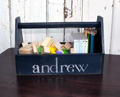 Children's Tool Box/Tote Personalized by AlyandCompanyToo on Etsy. Another to try DIY
