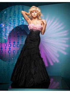 Taffeta Mermaid Strapless Sweetheart Neckline Ruffled Bodice Prom Dress