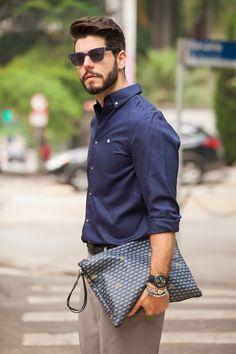 Mens Street Style: Kadu Dantas dresses for seduction with the Fauré Le Page Pochette Zip bag in Paris Blue.