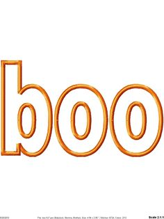 Boo Halloween Machine Embroidery Applique Design 2 sizes.