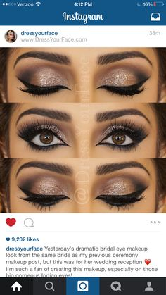 Eye make up Pretty Makeup, Love Makeup, Makeup Inspo, Makeup Inspiration, Brown Eyes Makeup, Wedding Makeup For Brown Eyes, Makeup Style, Make Up Looks, Wedding Hair And Makeup