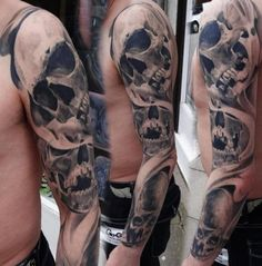 Several Graphic Skulls tattoo sleeve by Piranha Tattoo Supplies