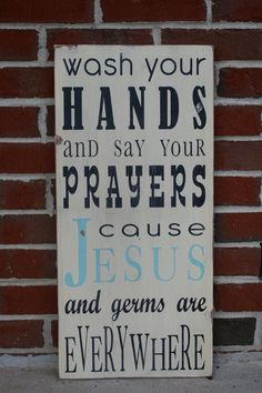 Wash Your Hands and Say Your Prayers by barnowlprimitives on Etsy, $85.00