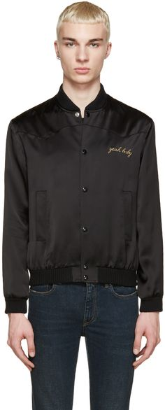 "Saint Laurent: Black Satin ""Yeah Baby"" Bomber 