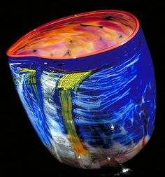 Dale Chihuly, 1989 | Aurora soft cylinder with red lip wrap | Soft Cylinders Glass Series