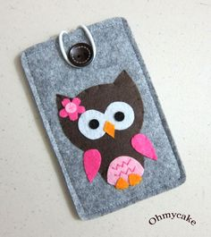 "Handmade iPhone Felt Case - "" Kawaii Owl "" Design"