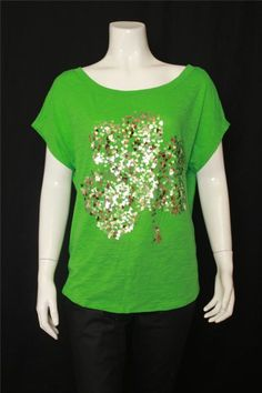 New Express Green Short Sleeves Boat Neck Sequin Knit Top Size S #Express #KnitTop #Casual