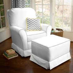Kacy Collection Morgan Nursery Swivel Glider Crushed Silver Fabric With White Contrast Piping Little Castle Furniture Babies R Us For The