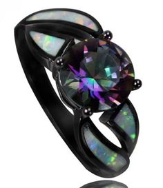 Black Gold Filled AAA Rainbow Mystic Topaz & Fire Opal Rings Fashion Jewelry For Women Cocktail Ring Bling Bling, Gothic Engagement Ring, Wedding Engagement, Fire Opal Engagement Ring, Opal Wedding Rings, Gold Wedding, Black Hills Gold Jewelry, Fire Ring, Mystic Topaz