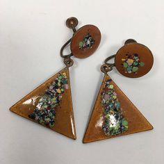 See new listings daily - follow us for updates.  Vintage #Boho Art Nouveau Earrings, Splatter Painted Baked Enamel #Dangle Drop #Jewelry, Triangle Modern Art  Screw Back Earrings, Gift for Her, Vintage Earrings, Baked Enamel... #vintage #teamlove #etsyretwt #bestofetsy #mimisjewelryboutique #copper #triangle