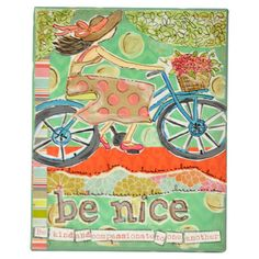 Canvas print with a bicycle motif and typographic details.     Product: Wall artConstruction Material: Canvas and wood...