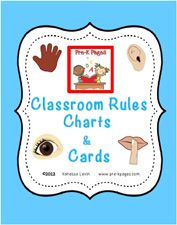 Classroom Rules Chart and Cards for Preschool and Kindergarten via www.pre-kpages.com