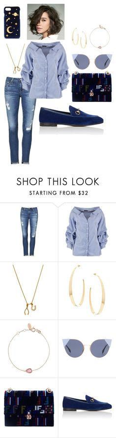 """""""blue chic 2"""" by ichaermayani on Polyvore featuring AG Adriano Goldschmied, Boohoo, Chrysalis, Lana, Fendi, Gucci, CHARLES & KEITH and polyvorefashion"""