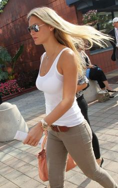 Shop this look for $78: http://lookastic.com/women/looks/brown-belt-and-white-tank-and-grey-skinny-jeans-and-pink-shopper-handbag/1630 — Brown Leather Belt — White Tank — Grey Skinny Jeans — Pink Leather Tote Bag