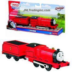 """Fisher Price Year 2013 Thomas and Friends Trackmaster Motorized Railway Battery Powered Tank Engine 2 Pack Train Set - JAMES the Red Color Mixed-Traffic Engine (BLM63) with """"Coal Loaded"""" Car"""