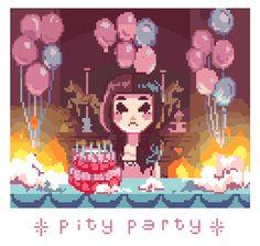 Melanie Martinez // fan art by internett-princess ( Pity Party) Cry Baby, Melanie Martinez Drawings, Crybaby Melanie Martinez, Pity Party, Fan Art, Aesthetic Gif, 8 Bit, Pastel Goth, Music Stuff