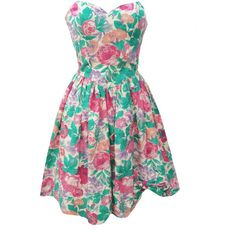 1980s strapless vintage party dress ($105) ❤ liked on Polyvore featuring dresses, 80s cocktail dress, flower print dress, strapless dress, sweetheart dress and sweetheart cocktail dress