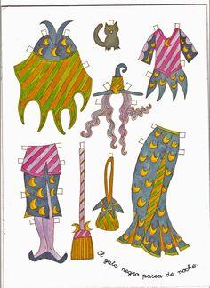Modern witch paperdoll outfits - TODORECORTABLES SUEÑOS DE PAPEL: TODO HALLOWEEN, RECORTABLES, CAJITAS, TARJETITAS, DIBUJOS PARA COLOREAR Y MASCARAS