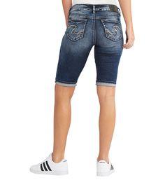 087e7e4f Womens Silver Jeans Shorts Mid Rise Suki Denim Bermuda Stretch Knee 29,  Plus 16 #