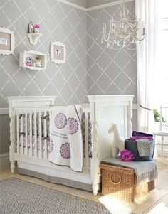 Girls Nursery 3 - Gray and purple Paint: Benjamin Moore's Coventry Gray (HC 169). Their Silver Chain (1472) color would also go beautifully with the Dahlia bedding set. No wallpaper was used, it's a stencil.