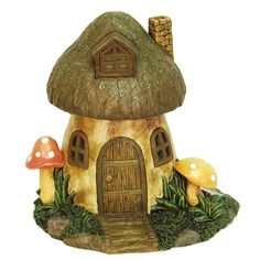 Echo Valley 6291 8.5-inches Solar Mushroom Fairy Or Gnome Home (Lawn Ornaments), Brown (Ceramic), Outdoor Décor