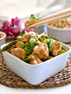 "Chicken with Coconut-Lime Peanut Sauce.  ""Made this with pork tonight and it is fantastic!  The sauce seems a bit grainy to me, but I used Jif low fat peanut butter.  That might effect it, it might not.  All I know is that it is super yummy!!!  I also substituted a little brown sugar for the Stevia and put at least a tsp of cinnamon in instead of a pinch.  So good!!!!"""