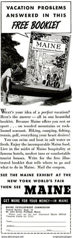 USA : Original - Anzeige / Advertise 1939 (ENGLISH) - MAINE  - Ca. 65 X 220 Mm - Werbung
