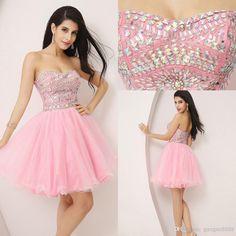 Short light pink prom dress