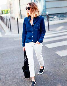 jeans + calça branca                                                                                                                                                                                 Mais