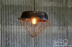 Repurposed Chicken Feeder Hanging Light ~ via Knick of Time @ http://knickoftimeinteriors.blogspot.com/